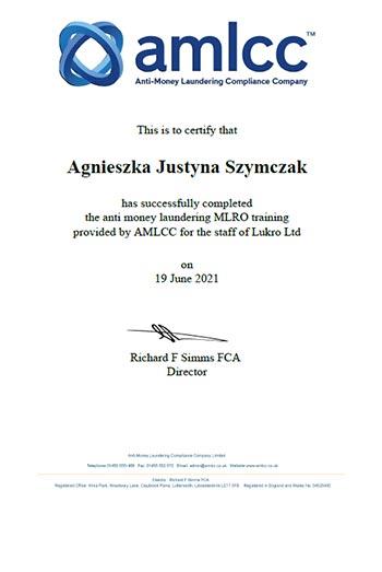 AMLCC MLRO Certificate 2021