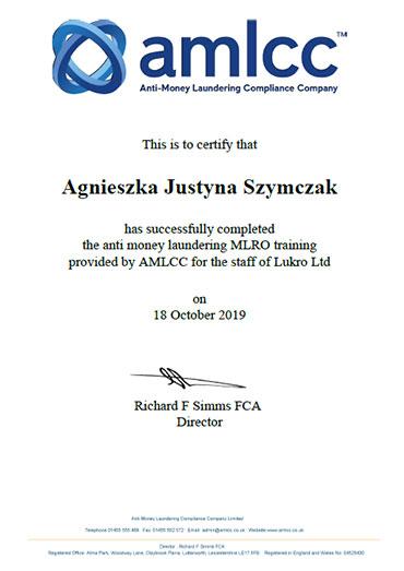 AMLCC MLRO Certificate