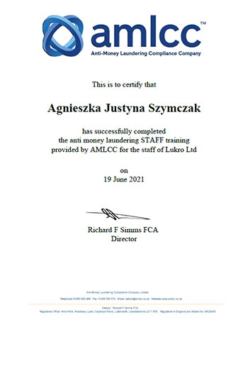 AMLCC Staff Certificate 2021