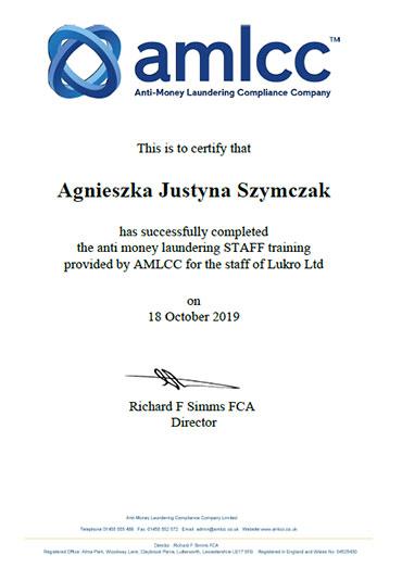 Lukro AMLCC Staff Certificate