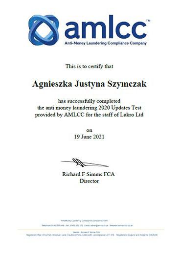 AMLCC MLRO Updates Test Certificate 2021