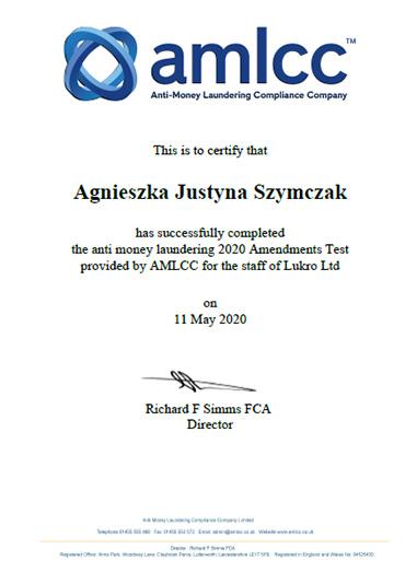 Lukro AMLCC MLRO Update Certificate 2020