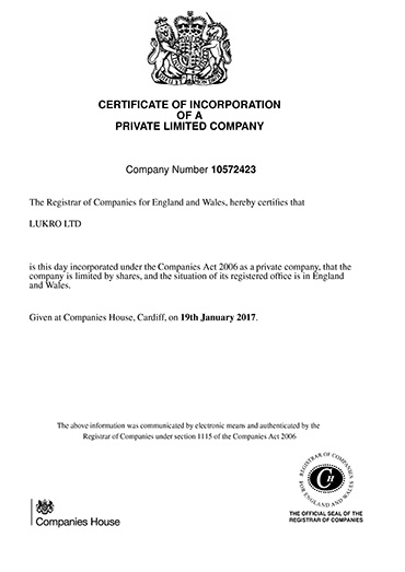 Company House Registration Certuficate