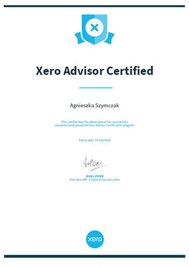 Xero Advisor Certyficated
