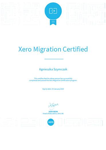 Xero Migration Certificate