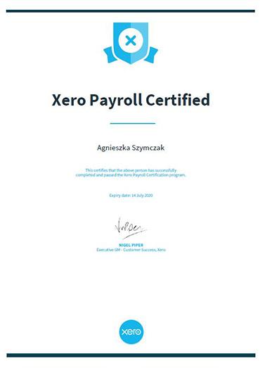 Xero Payroll Certificate