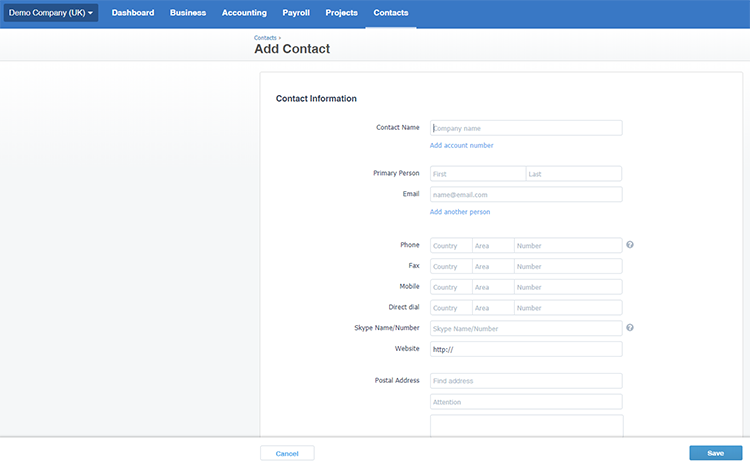 Adding Contacts in Xero Accounting Software