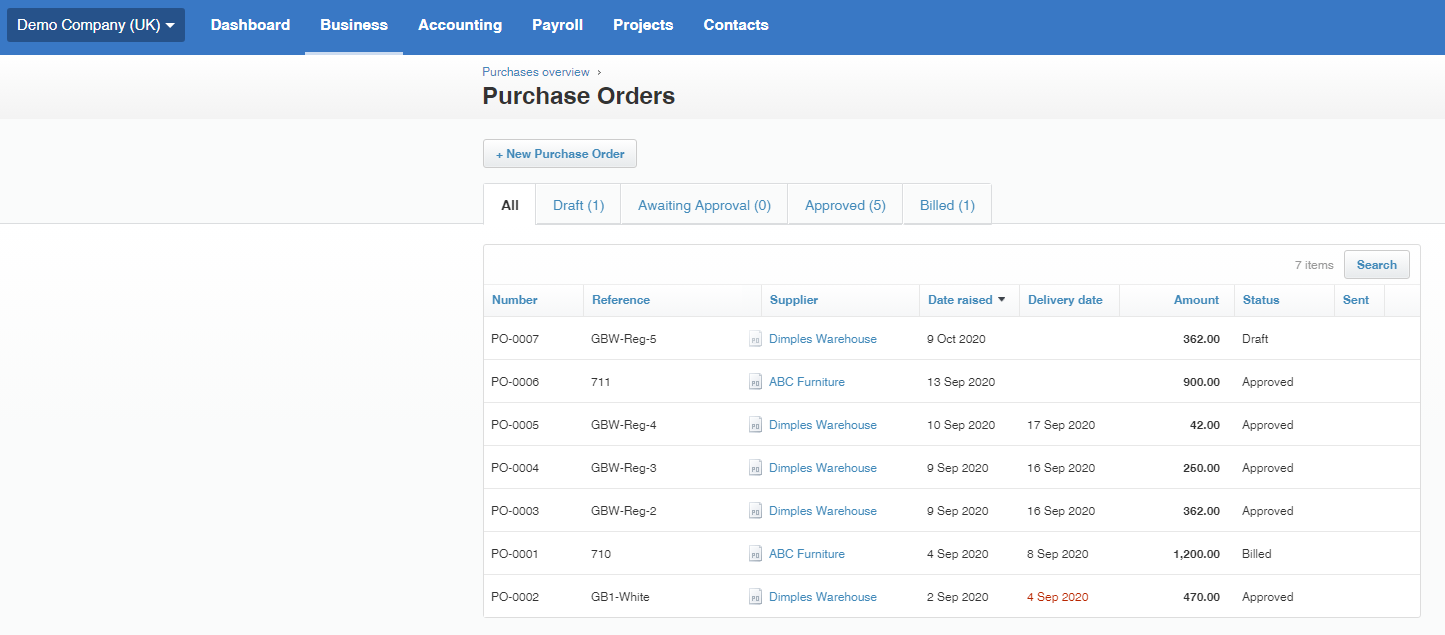Creating Purchase Orders with Xero Accounting Software